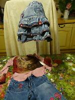 """3/4 ans """"tissu Jeans"""" 3 pièces Adorables T.B.E comme neuves !!"""