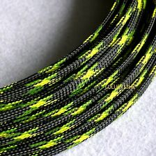 4mm BLACK GREEN Expandable Braided DENSE Cable Sleeve Sleeving Diy Wire x5m