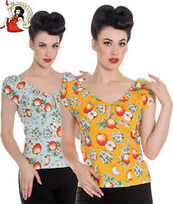 HELL BUNNY SOMERSET GYPSY TOP 50s style APPLE fruit rockabilly BLUE ORANGE