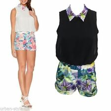 Collared Floral Sleeveless Jumpsuits & Playsuits for Women