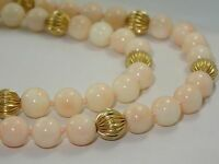 "42"" 8mm ANGEL SKIN CORAL BEAD DOUBLE STRAND 14K GOLD BEAD NECKLACE 925 CLASP"
