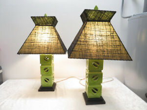 PAIR Royal Haeger Lime Green Leaf Pottery Lamps Original Black Fiberglass Shades