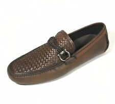 NEW SALVATORE FERRAGAMO Side Gancini Brown Mens Woven Leather Loafers Shoes 11.5
