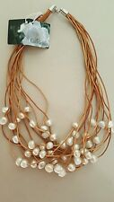 NEW GARDENIA JEWERLY GENUINE SUEDE LEATHER 12 STRAND FRESHWATER PEARLS NECLACE