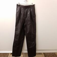 West Bay Leather Pants Women's Size 36 X 30 Brown Pleated Riding High Waisted
