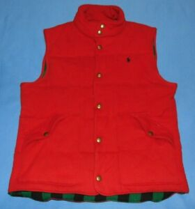 POLO by RALPH LAUREN  RED  QUILTED  PUFFER  SNAP FRONT VEST  LARGE