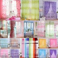 Modern Floral Tulle Voile Door Window Curtain Drape Panel Sheer Scarf Valances