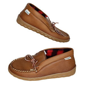LL Bean Size 10 Slippers Moccasins Men's Brown Leather Fleece Lining Canada