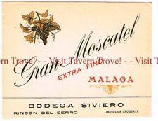 Unused 1936 URUGUAY Montevideo Siviero Hermanos Gran Moscatel Malaga Label