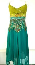 KAREN MILLEN Indian Lime Turquoise Embellished Asymmetric Silk Wedding Dress 12