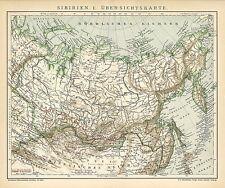 Alte historische Landkarte 1895: Sibirien I. Ãœbersichtskarte. Russland (B14)