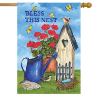 """Bless This Nest Spring House Flag Watering Can Floral Birdhouse 28"""" x 40"""""""
