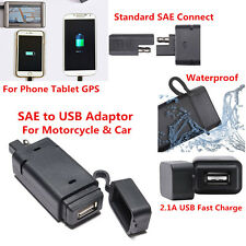 1X 2.1A Waterproof Black SAE plastic to USB adaptor Motorcycle and Car Charger