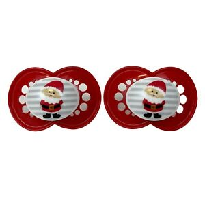 2 x MAM Christmas Santa Claus Dummy Pacifier Soother 6 Months+ NEW Xmas Baby