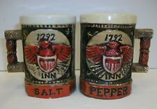 Vintage Napcoware Steins Mugs w Eagles Shields Salt Pepper Shaker Set