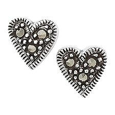 MARCASITE argento Orecchini a perno cuore