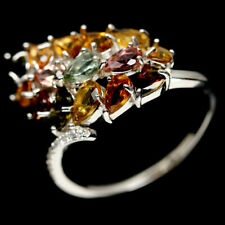 NATURAL FANCY COLOR TOURMALINE & WHITE CZ STERLING 925 SILVER RING SZ 9