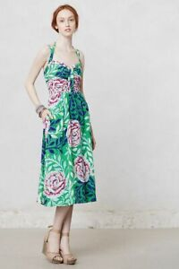 Anthropologie Moulinette Soeurs Rosamund Midi Dress US 2 Green
