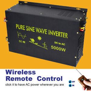 5000W Pure Sine Wave Inverter 12/24/48V to 120V/220V Car Generator Remote Truck