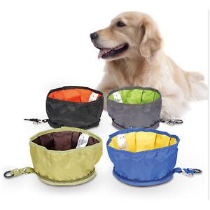Fabric Folding Dog Cat Pet Bowl Food Water Fold Up Portable Travel Pet Drinking