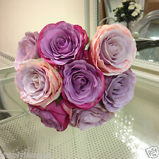 ARTIFICIAL VINTAGE STYLE SILK LILAC ROSE BOUQUET / POSY WEDDING HOME FLOWERS