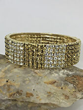 CLEARANCE Indian Gold Plated Crystal Bangle Bracelet White Brown Kada SIZE 2.6