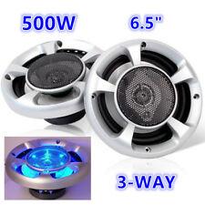"""2x MaxTurbo 6.5"""" Inch Car Speakers LED Light 500W Stereo 3-WAY Audio Component"""