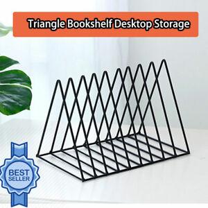 Triangle Book Holder Minimalist Bookshelf Desktop Organizer Rack A Black