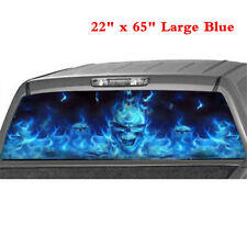 """Blue Flaming Skull Decal Car SUV Rear Window Graphic Decal Sticker 22"""" x 65"""" 1PC"""