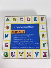 Hero Arts Outline Alphabet Set Wood Mounted Rubber Stamps with Punctuation
