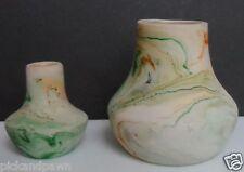 Nemadji American Art Pottery Medium Size Vase and Small Vase Green Orange Beige
