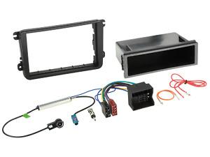 2-DIN Autoradio Einbauset mit Ablagefach und Kabeladapter passend für VW Seat Sk