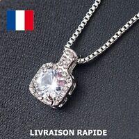 Collier Pendentif Cristal Strass Argenté Soirée Cadeau Bijoux Femme Anniversaire