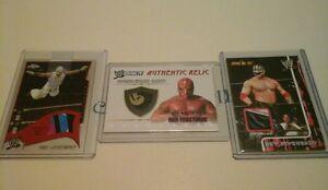 WWE REY MYSTERIO 3 CARD RELIC LOT FLEER CHROME HERITAGE IV MULTI COLORS RARE!!