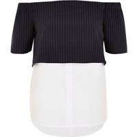 River Island Women's Navy Stripe Layered Bardot Shirt Size 16