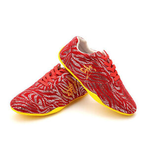 Leather Tai Chi Kungfu Shoes Martial Arts Sneakers Taolu Trainers Red 武 Pattern