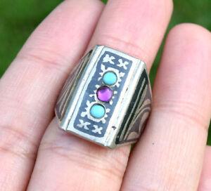 Turkmen Tribal Vintage Ring Jewelry Afghan Kuchi Ethnic Gilt Silver Gypsy Boho
