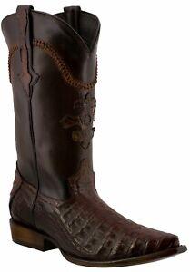 Mens Rustic Cognac Genuine Crocodile Belly Skin Leather Cowboy Boots Snip Toe