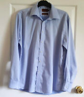 "M&S Collezione Men's Italian Cotton Shirt Blue Size 16"" Collar 44"" Chest"
