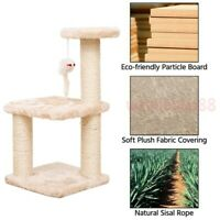 Tree Condo with Scratching Post, Cat Tower Pet Play House with Toy Beige FAST US