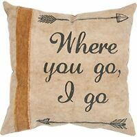 "New Primitives by Kathy 14x14"" Cotton Canvas Throw Pillow ""Where You Go, I Go"""