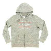 Levi's Men's Hooded Sweatshirt Full Zip Hoodie Graphic Spell Out Gray Size XL