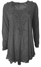 Cotton Blend Scoop Neck Long Sleeve Tops & Shirts for Women