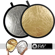 """60cm (23.5"""") 2-in-1 Collapsible Round Disc Studio Light Reflector Silver & Gold"""
