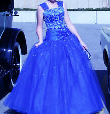 BEADED ROYAL BLUE PROM DRESS WITH REMOVABLE STRAPS - FAST SHIPPING!