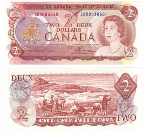 Canada $2 Dollars 1974 P-86a BC-47a UNC Lawson-Bouey BB Prefix Banknote