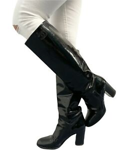 CHANEL Vintage Coco Mark Cc Patent Leather Boots #37 US 6.5 Black RankAB
