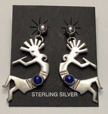 "Sterling Silver Lapis Kokopelli Kachina Dancer Stud Earrings 1 1/2"" 3/4"" (6 g.)"