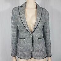 Zara Black White Check Blazer Jacket Pockets Smart Career Wear Size UK XS 8-10