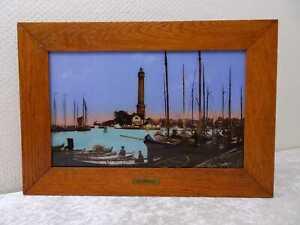 Antikes Hinterglasbild Perlmutteinlage Osternothafen Swinemünde Pommern Vintage